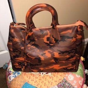 Handbags - Orange Camo Printed Vinyl Satchel